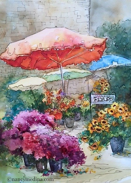 """French Sunday Flower Market and a French Escape Workshop - Nancy Medina Online Classes and Journey Workshops"" original fine art by Nancy Medina"
