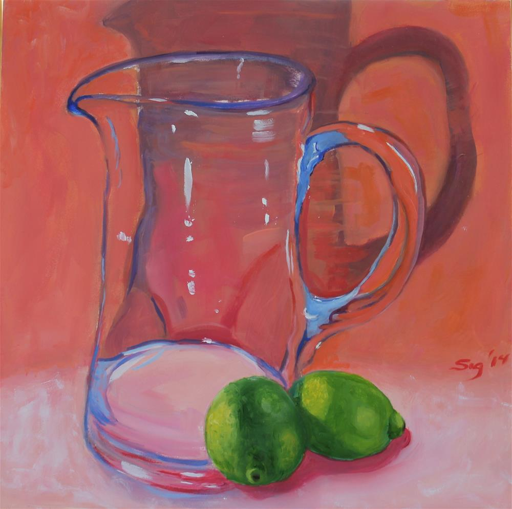 """""""Crystal pitcher and  limes."""" original fine art by Sigrid Victor"""