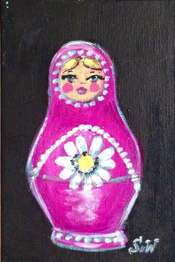 """Pink matryoshka nesting doll painting"" original fine art by Sonia von Walter"