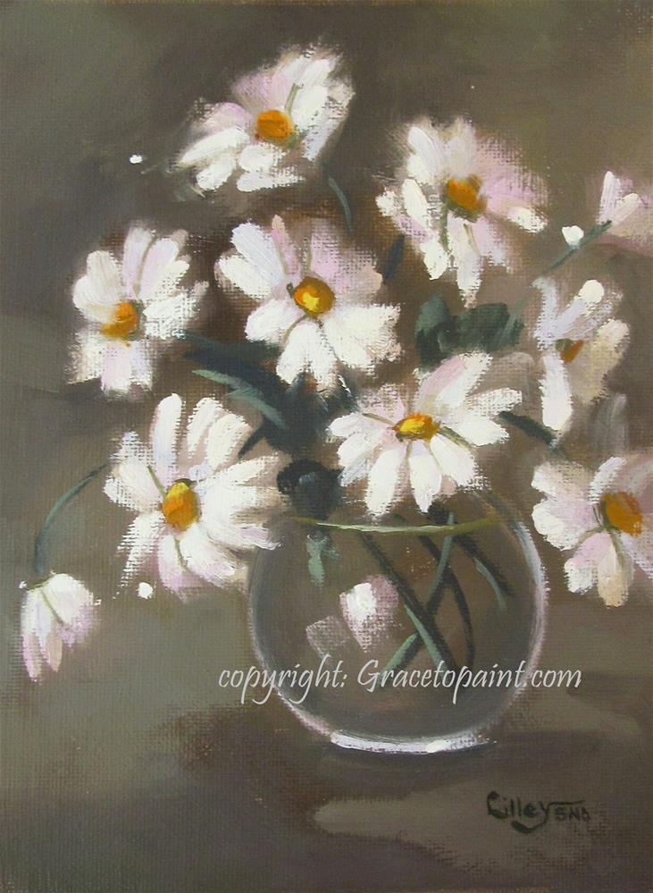 """Daisies in a Glass Vase"" original fine art by Maresa Lilley"