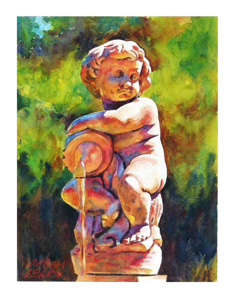 """Cherub fountain."" original fine art by Graham Berry"