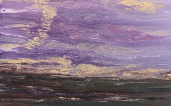 """Abstract Landscape,Sunset Art Painting Reflections on the Plains V by Colorado Contemporary Artist"" original fine art by Kimberly Conrad"