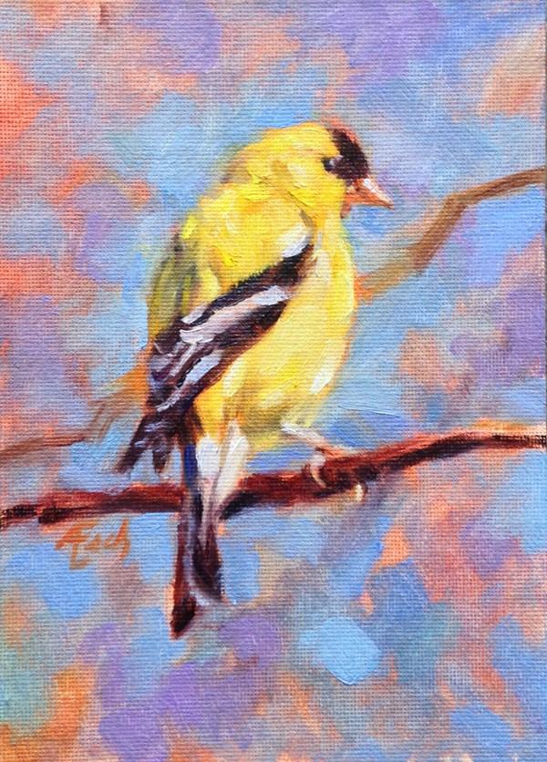 """""""American Gold Finch"""" original fine art by Audra Esch"""