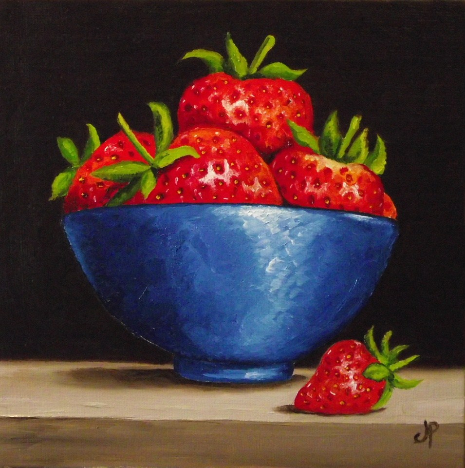 """Strawberry bowl"" original fine art by Jane Palmer"