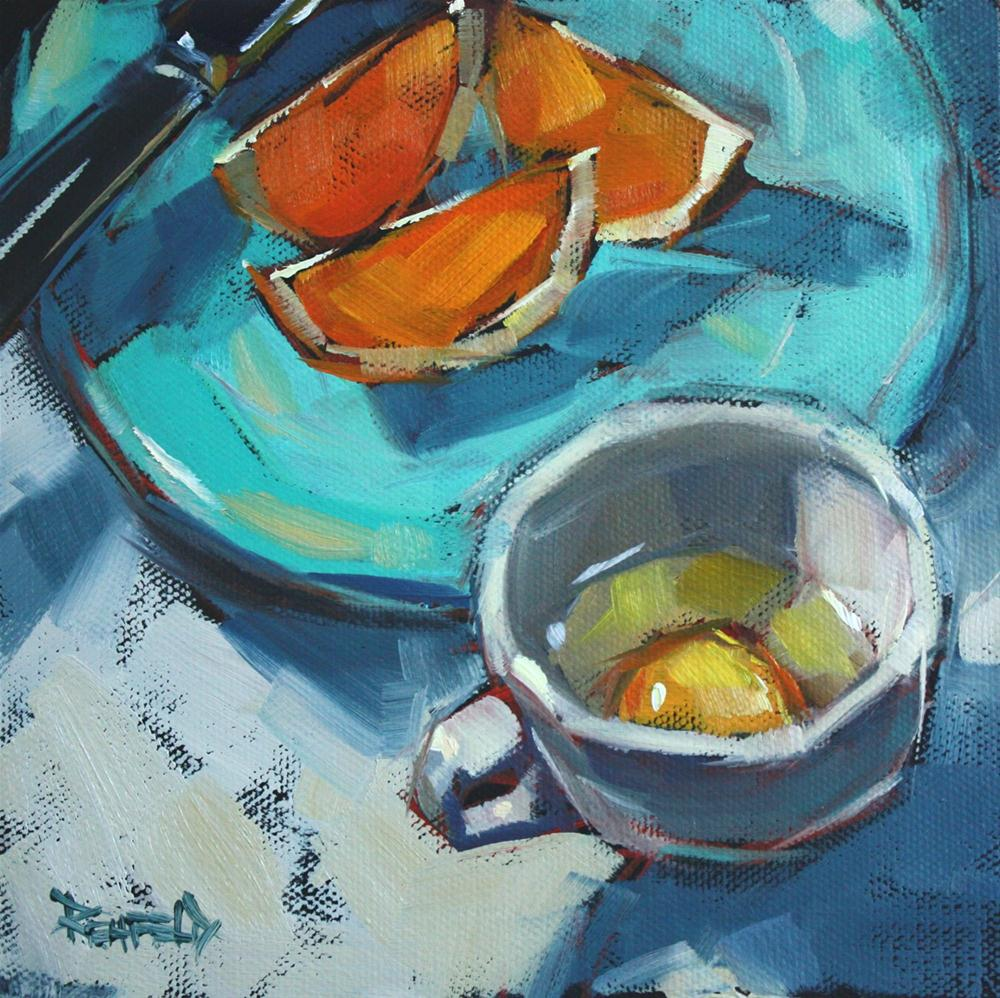 """Oranges on Turquoise Plate"" original fine art by Cathleen Rehfeld"
