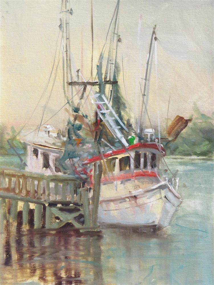 """""""Shrimper at Carabelle, Florida"""" original fine art by Christa Friedl"""