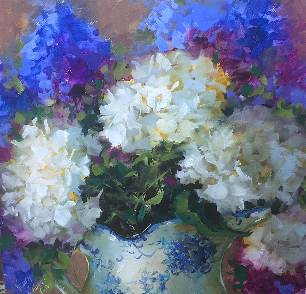 """Time to Dream White Hydrangeas - Nancy Medina Art Videos and Classes"" original fine art by Nancy Medina"