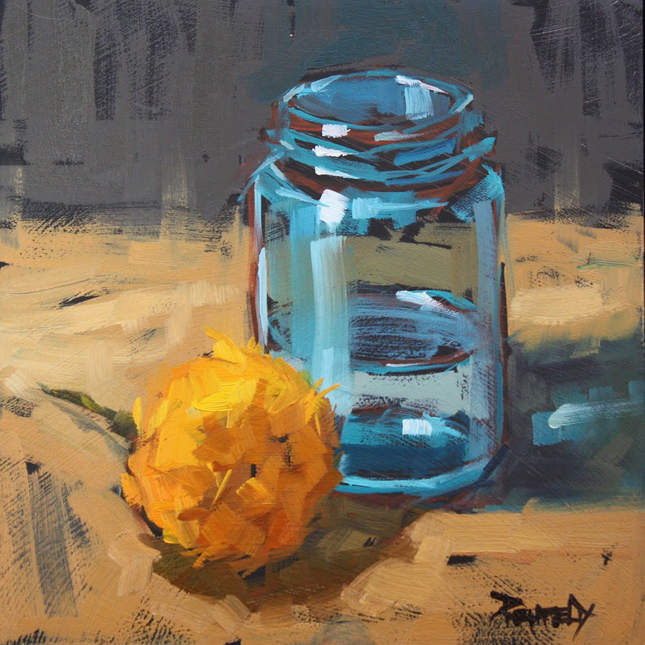 """Turquoise Jar and Marigold - sold"" original fine art by Cathleen Rehfeld"