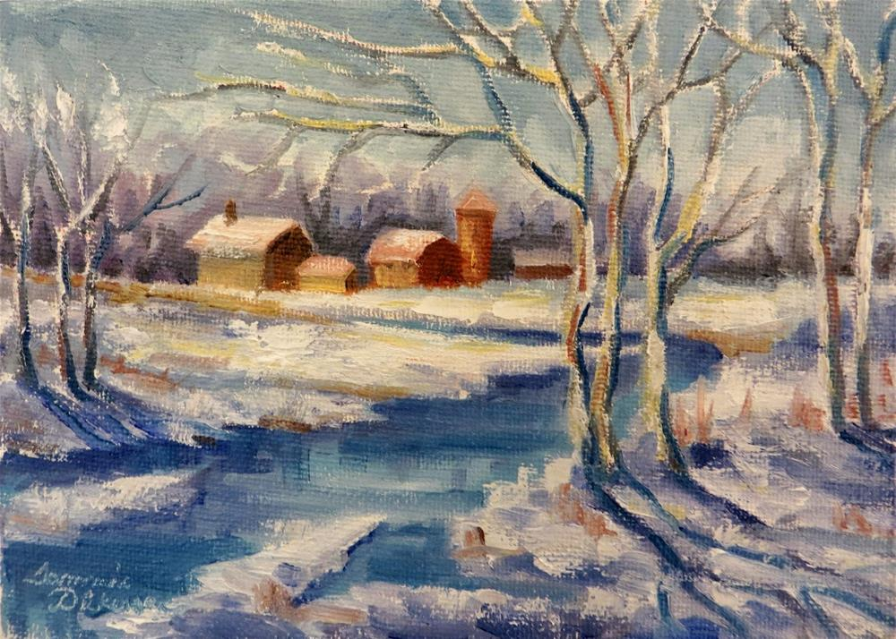 """Sunlit Winter Farm"" original fine art by Tammie Dickerson"