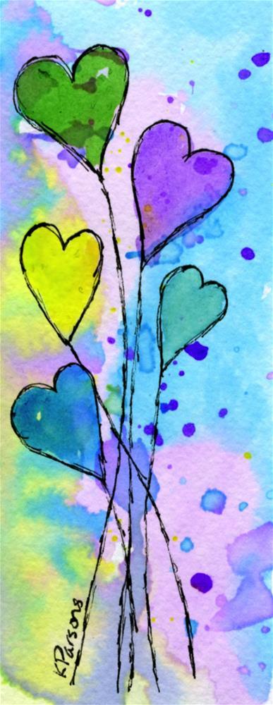 """Bouquet of Heart Balloons"" original fine art by Kali Parsons"
