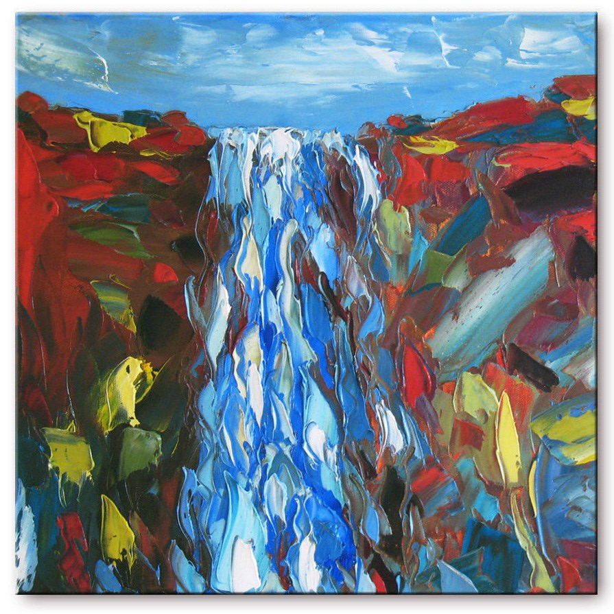 """Falls in red rock"" original fine art by Elena Lunetskaya"