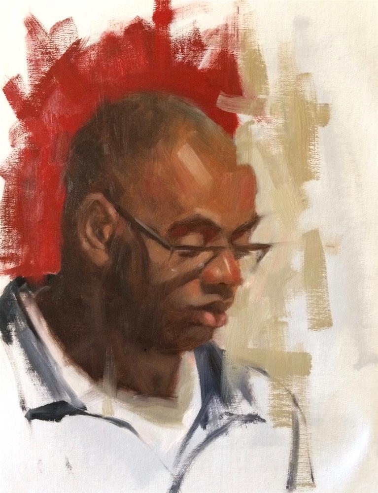 """Portrait experiment   14in x 11in  oil"" original fine art by Claudia Hammer"