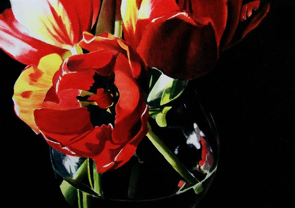 """Tulips with Black Centers"" original fine art by Jacqueline Gnott, whs"