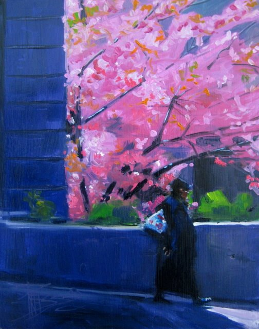 """The Walker  figure landscape painting"" original fine art by Robin Weiss"