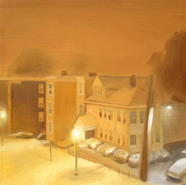 """Nightime Blizzard in Boston, MA (no.34)"" original fine art by Michael William"