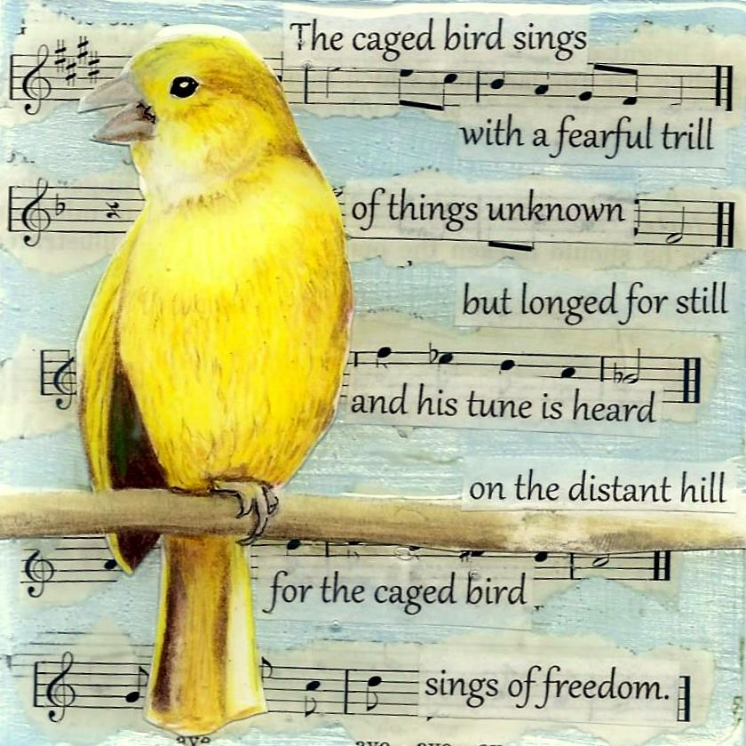 """The Poetry of Birds: Maya Angelou"" original fine art by Lisa Wiertel"