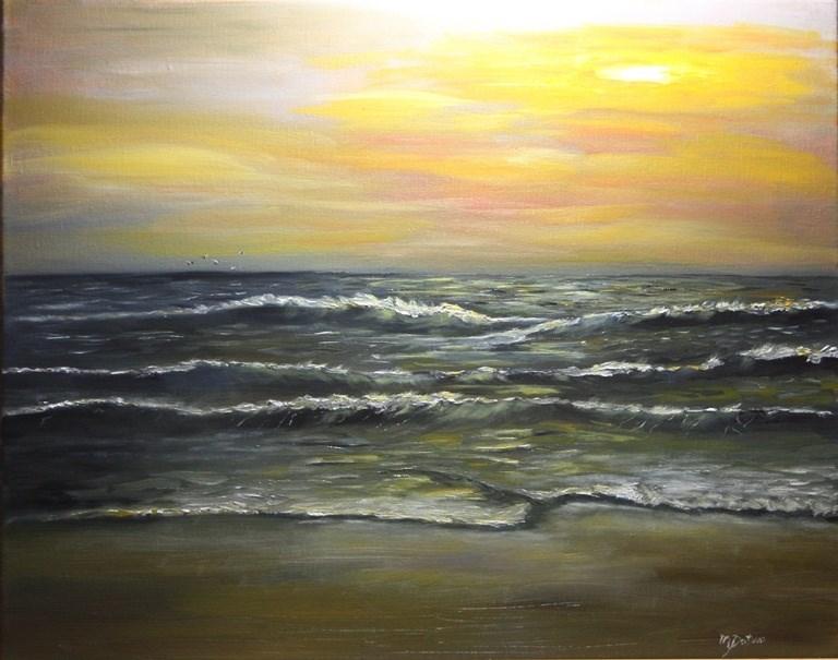 """Monterey Bay Sunset"" original fine art by Mary Datum"