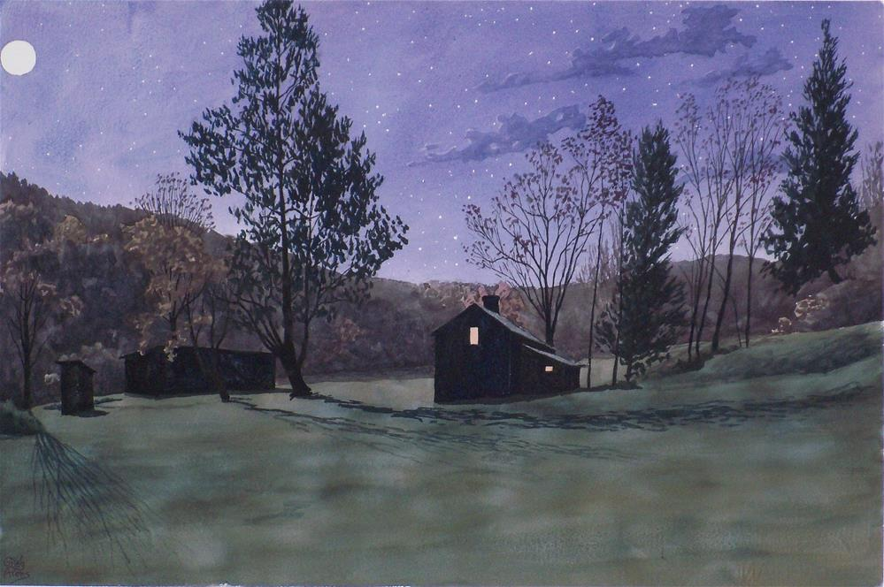 """Spring Moon over Riley's"" original fine art by Greg Arens"