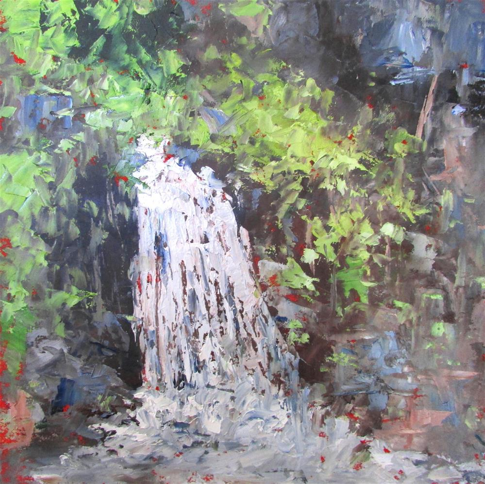 """8 x 8 oil Waterfall in the Forest #2"" original fine art by Linda Yurgensen"