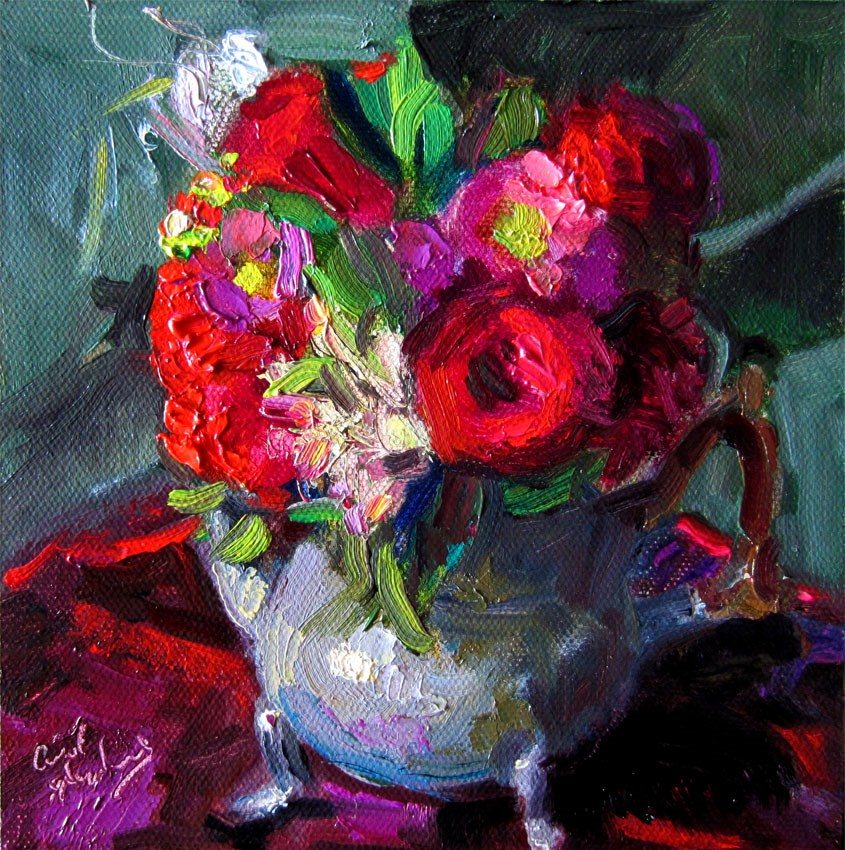"""Roses, Tea Kettle, Olive 2"" original fine art by Carol Steinberg"