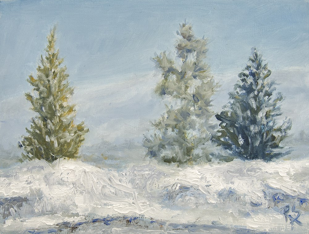"""Three trees in the Snow"" original fine art by Rachel Steely"