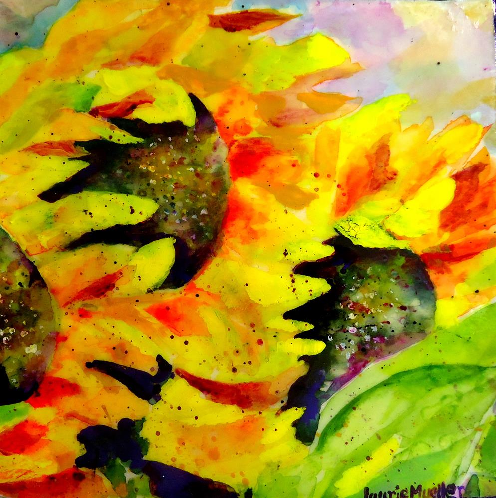 """Two Sunflowers #1"" original fine art by Laurie Mueller"