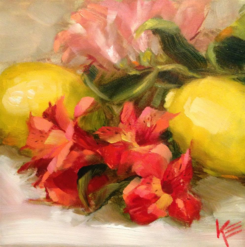 """Lemons & Astros"" original fine art by Krista Eaton"