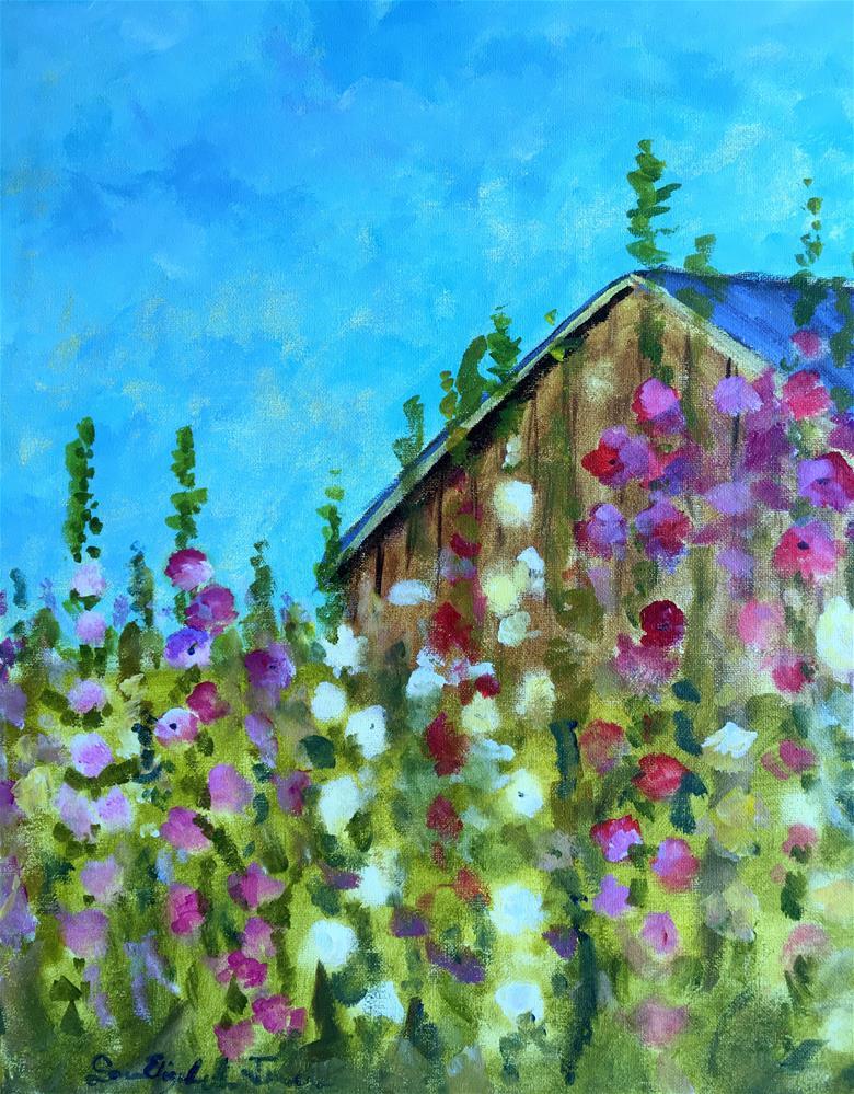 """Hollyhock Sunrise Demo"" original fine art by Susan Elizabeth Jones"