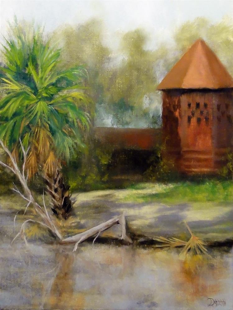 """Red Brick Pump House River Island"" original fine art by Dalan Wells"