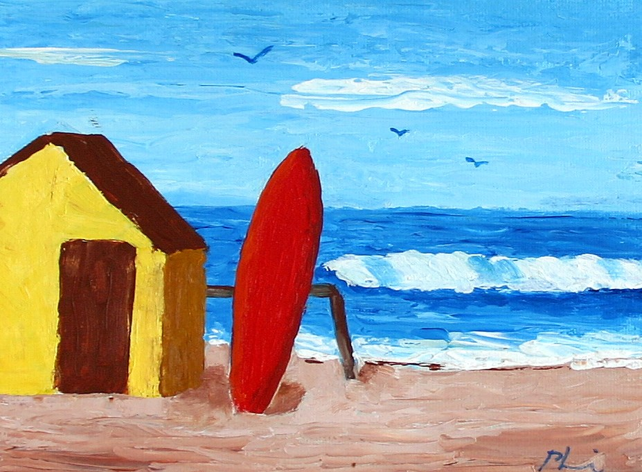 """RED SURFBOARD"" original fine art by Bob Phillips"