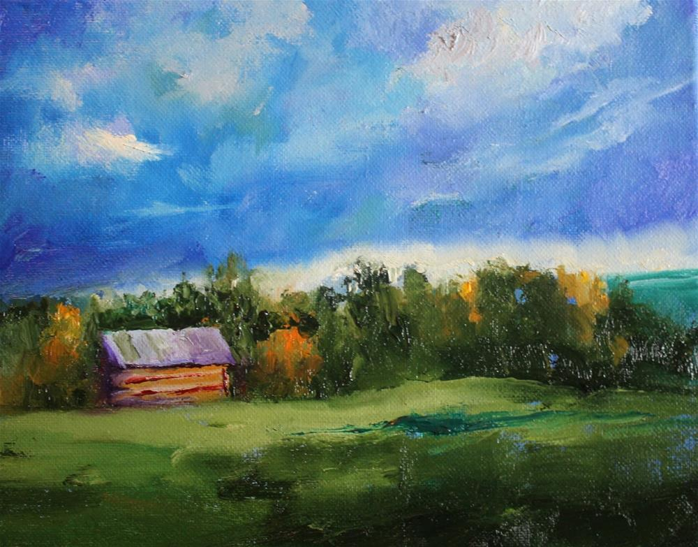 """Montana Cabin, Contemporary Landscape Paintings by Amy Whitehouse"" original fine art by Amy Whitehouse"