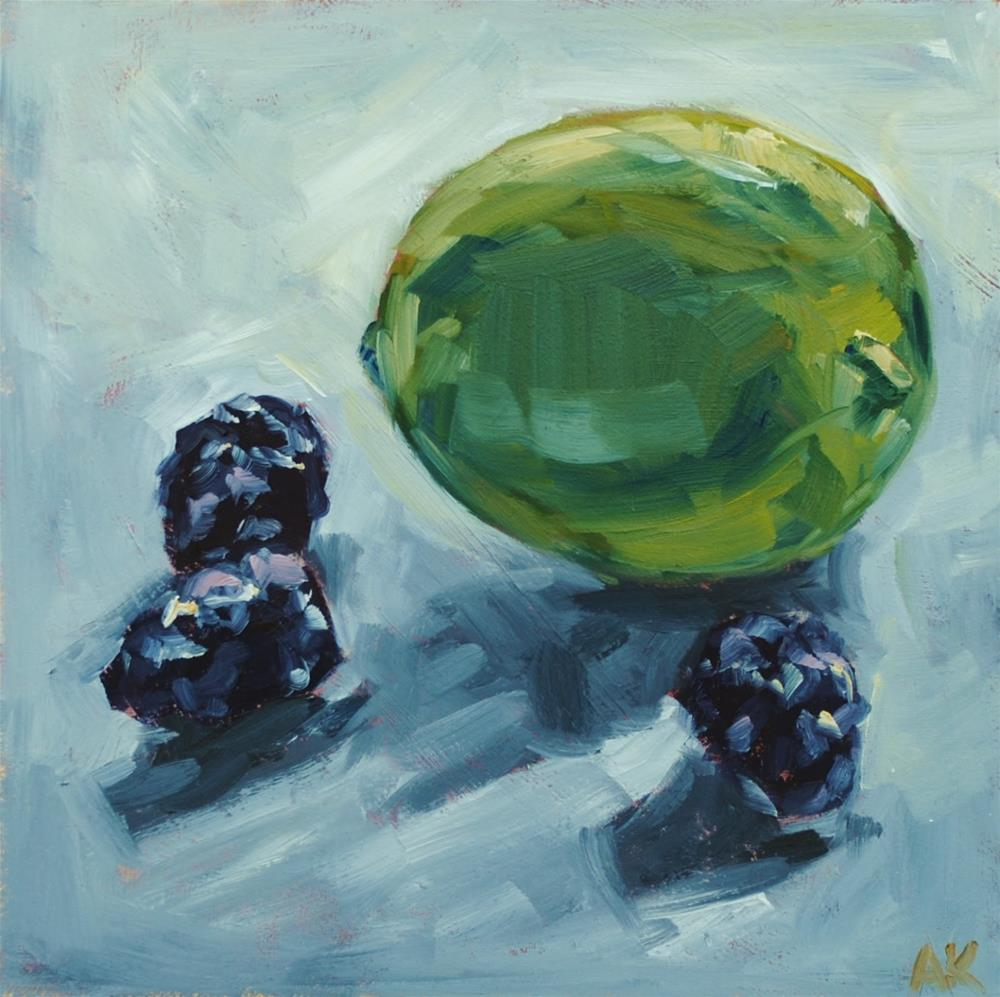 """Back Lit Lime and Blackberries"" original fine art by Alison Kolkebeck"