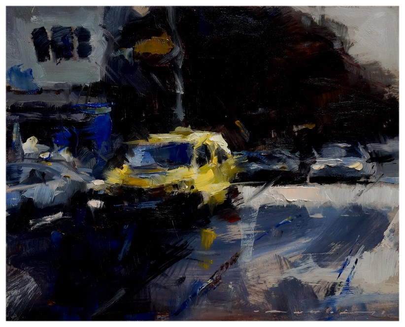 """09:25 - Yellow TAXI"" original fine art by Angel Angelov"