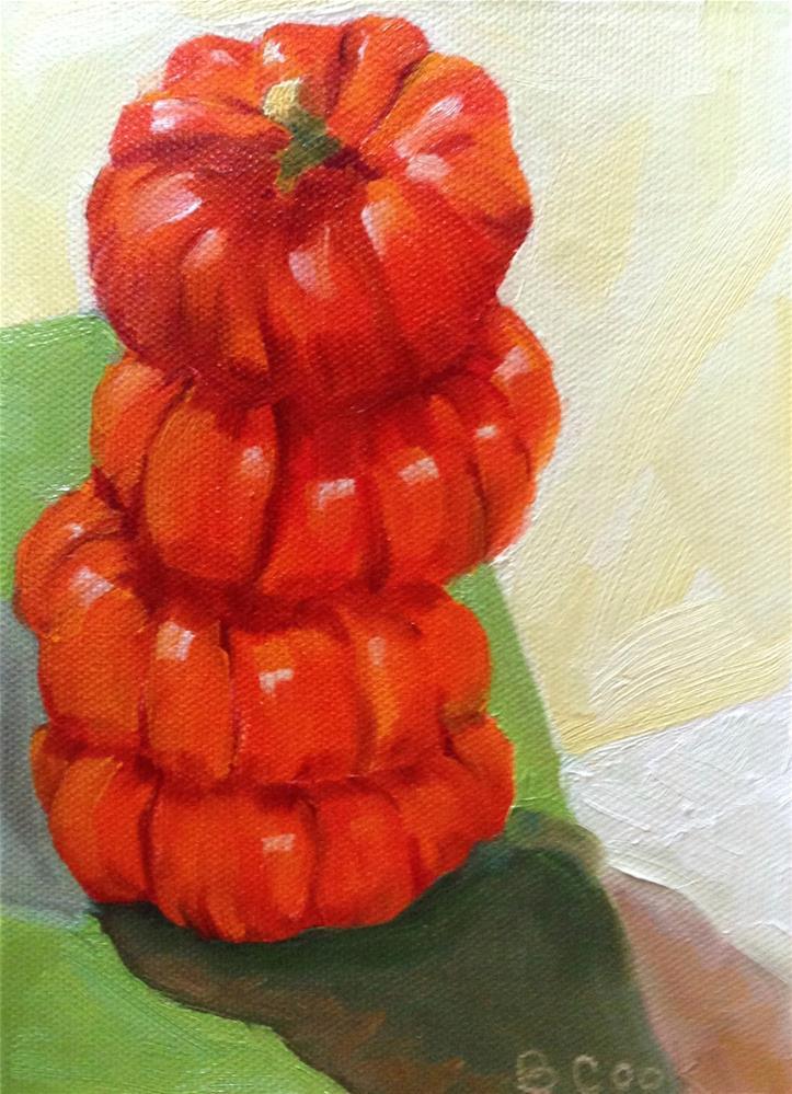 """pumpkin stack"" original fine art by Bobbie Cook"