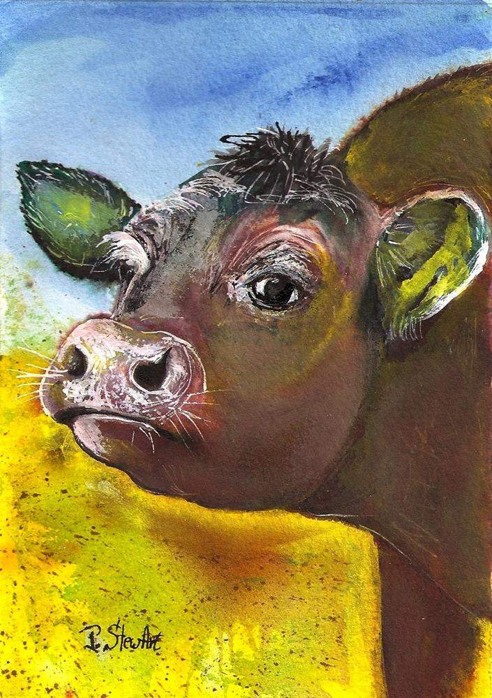 """5x7 Calf Baby Cow Mixed Media Country Farm Animal SFA by Penny StewArt"" original fine art by Penny Lee StewArt"