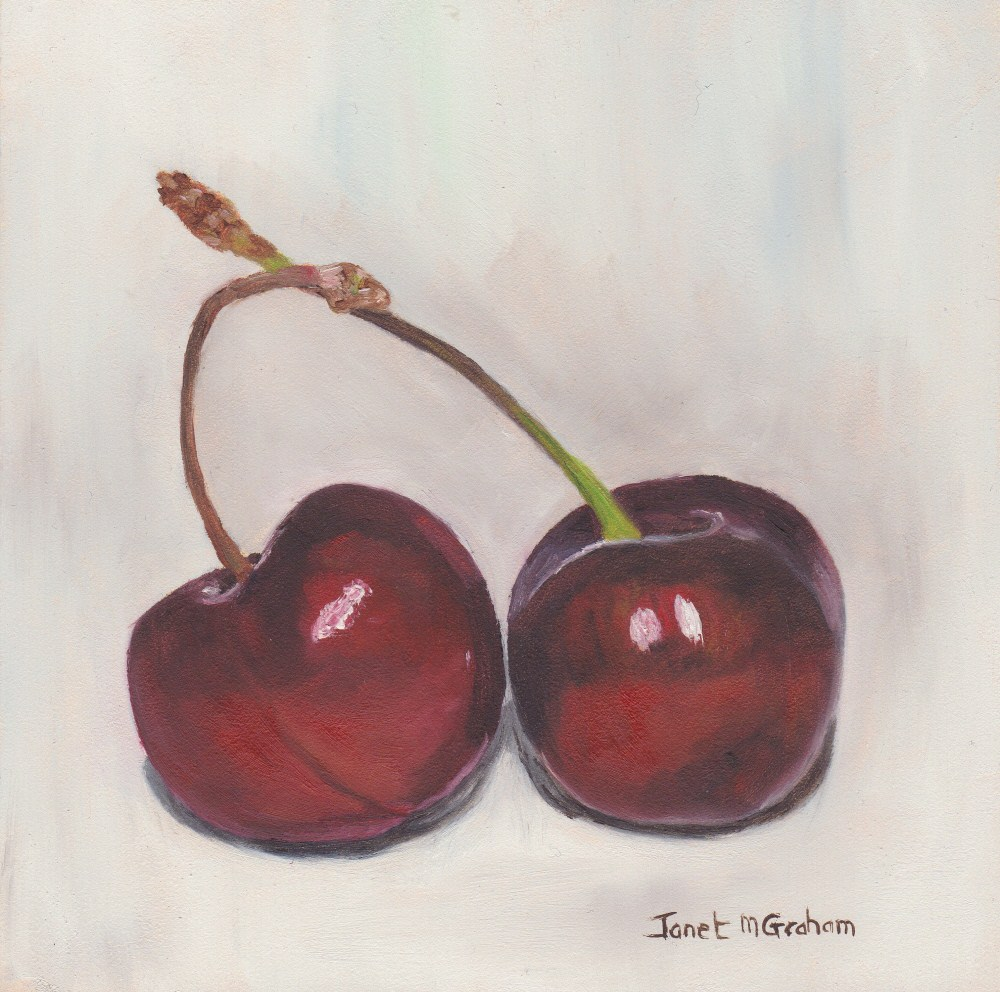 """Cherries 2"" original fine art by Janet Graham"