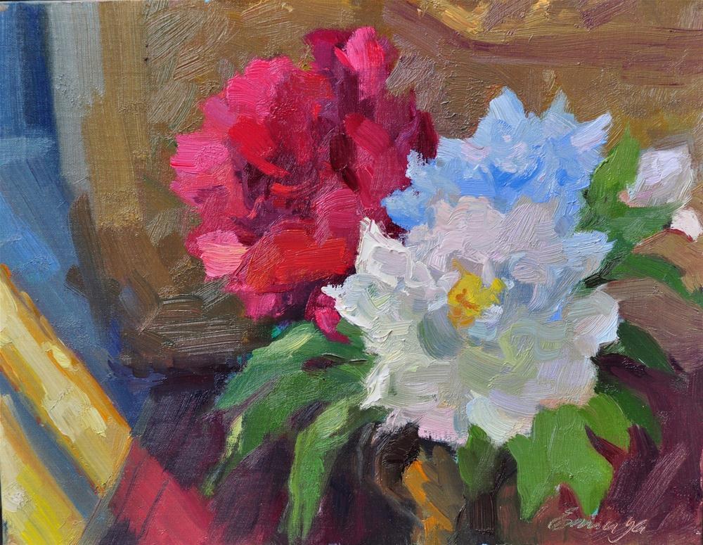 """Flowers Study oil on linen 11x 14"" original fine art by Emiliya Lane"