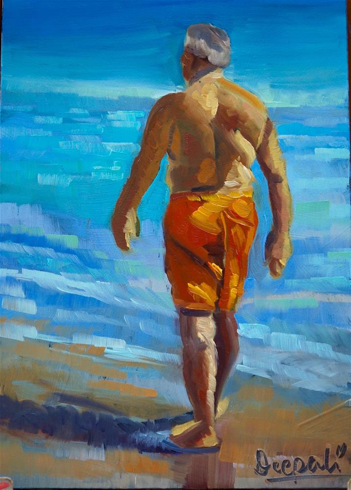 """Beach walk 2"" original fine art by Dipali Rabadiya"