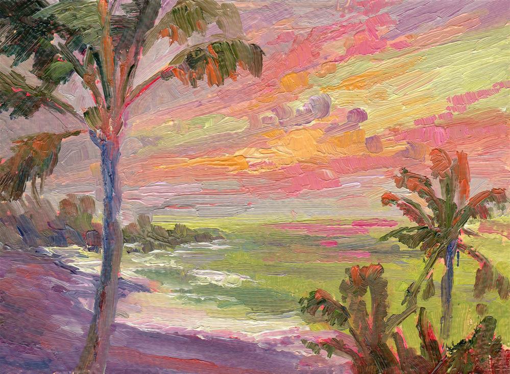 """HANA SUNRISE PINK AND GREEN"" original fine art by Karen E Lewis"