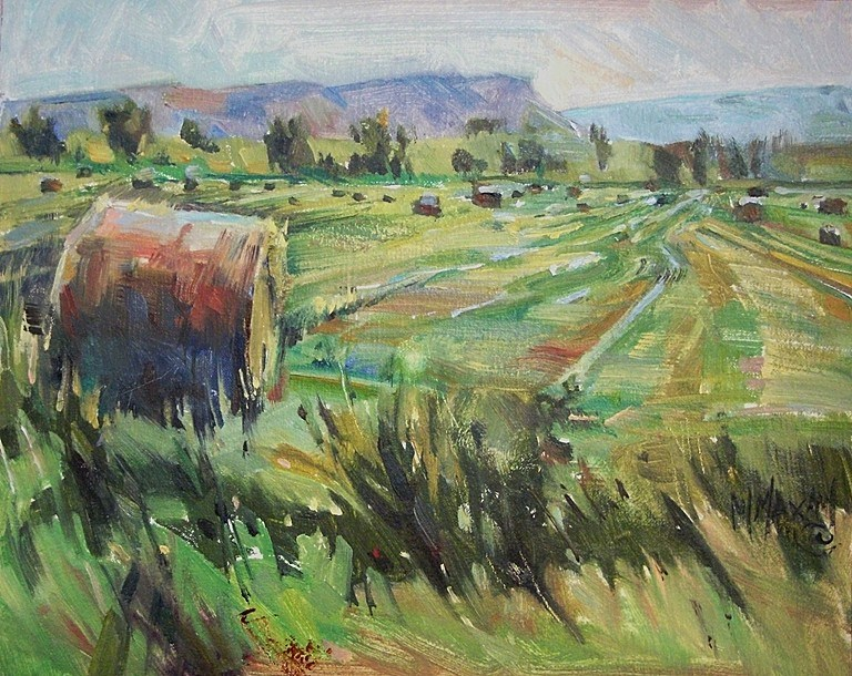 """Ready To Roll - hay bales, Montana"" original fine art by Mary Maxam"