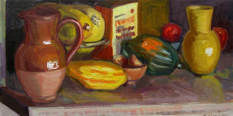 """Squash Shelf, Pumpkin Pancake Mix"" original fine art by Carol Steinberg"