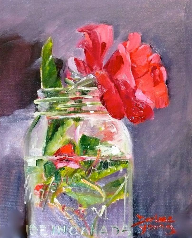 """671 Rose in a Jar"" original fine art by Darlene Young"