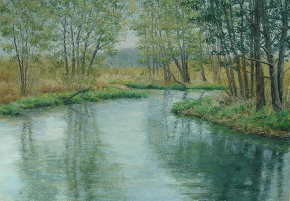 """Spring Green at River's Edge"" original fine art by Susan Klabak"
