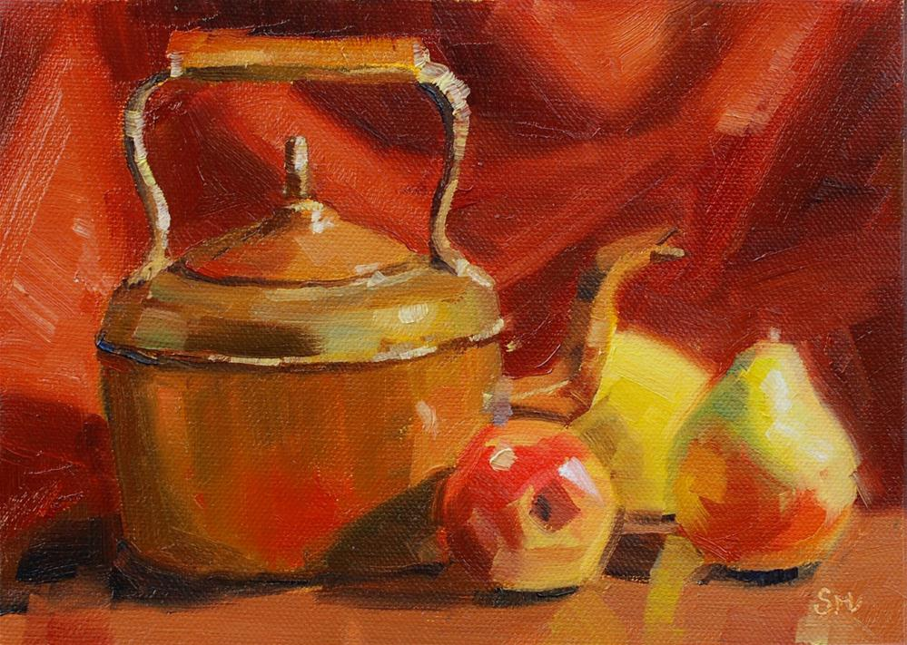 """Brass and Copper Kettle"" original fine art by Susan McManamen"