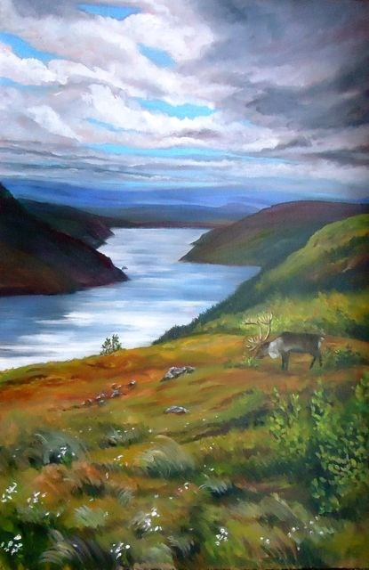 """Northwestel Road, Little Salmon Lake"" original fine art by Jackie Irvine"
