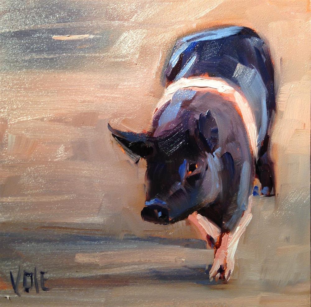"""#212 Pig Walking"" original fine art by Patty Voje"