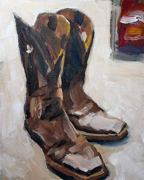 """Cowboy Boots"" original fine art by J. Farnsworth"