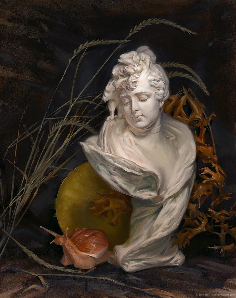 """""""Madame Mollusk, Framed"""" original fine art by Rob  Rey"""