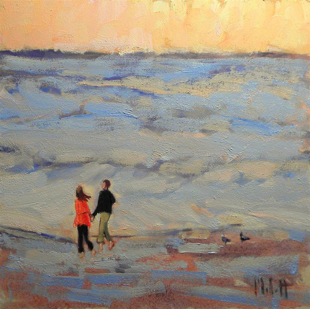 Newlyweds Barefoot on the Beach original fine art by Heidi Malott