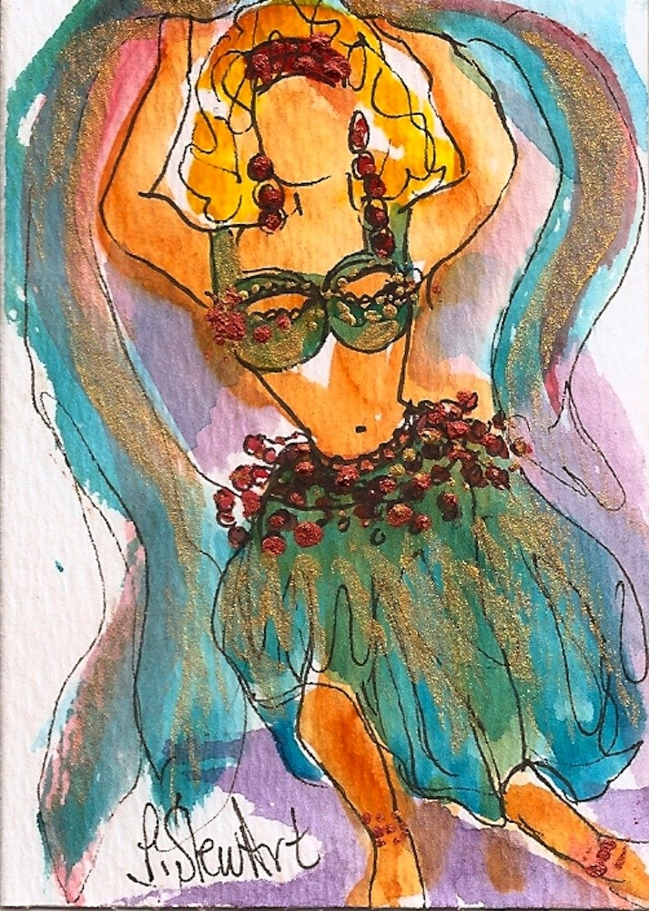 """""""ACEO Belly Dancer #2 Series - Watercolor and Pen, w/Metallic Accents, original"""" original fine art by Penny Lee StewArt"""